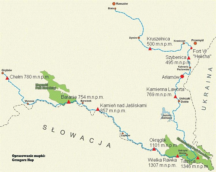 Mapa Niebieskiego Szlaku Karpackiego
